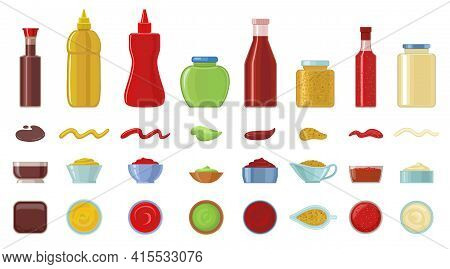 Sauce Vector Cartoon Icon Set . Collection Vector Illustration Ketchup On White Background. Isolated