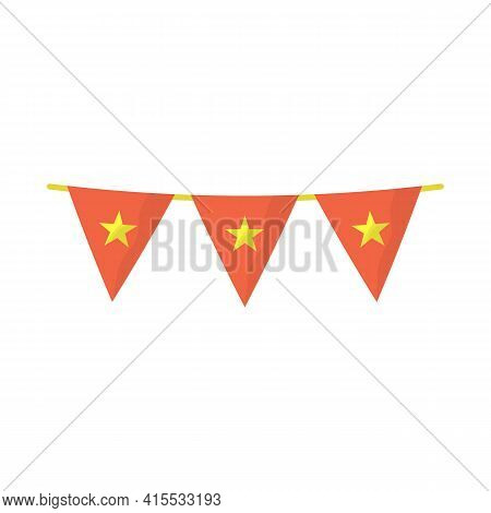 Isolated Object Of Flag And Red Icon. Set Of Flag And Vietnamese Vector Icon For Stock.