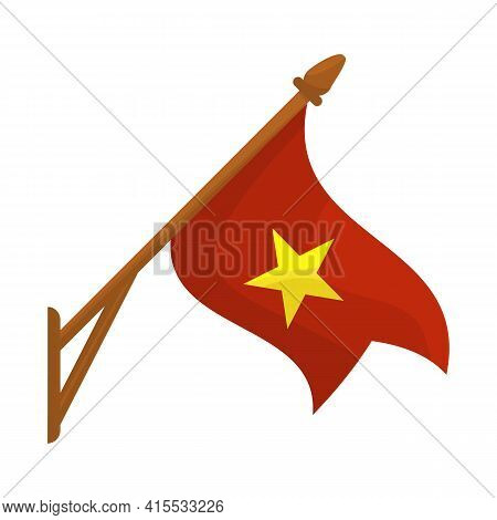 Isolated Object Of Flag And Red Symbol. Set Of Flag And Vietnamese Vector Icon For Stock.