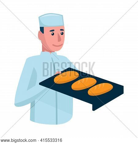 Vector Design Of Baker And Pan Sign. Collection Of Baker And Baguette Vector Icon For Stock.