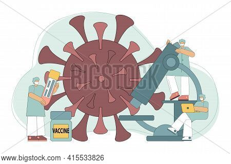 Vaccine Discovery Concept. Chemical Laboratory Research. Scientists With A Flask, A Microscope And A