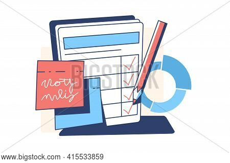 Planner With Tasks Vector Illustration. Paper With