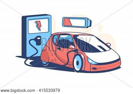 Red Electric Car Vector Illustration. Automobile Charging