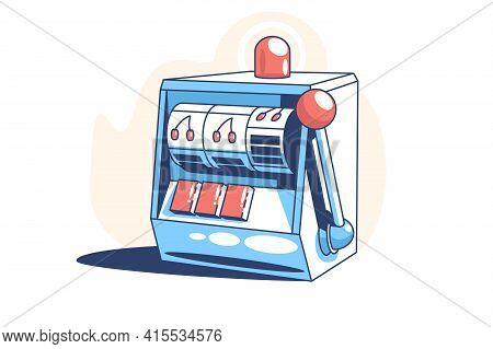 Retro Slot Machine Vector Illustration. Games Of