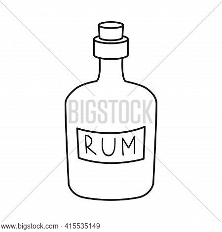 Vector Design Of Rum And Bottle Sign. Set Of Rum And Stopper Vector Icon For Stock.