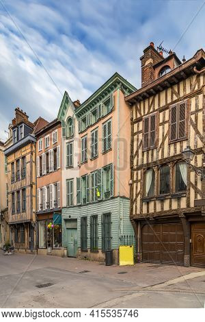 Street With Historical Half-timbered Houses In Troyes, France