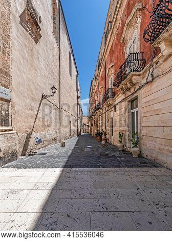 Syracuse Sicily. A Beautiful Deserted Street In Ortigia