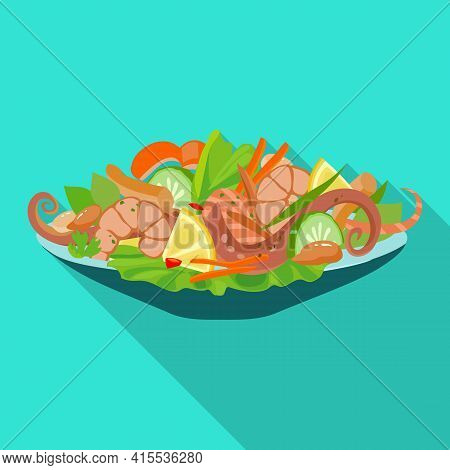 Dish Of Seafood Vector Icon.flat Vector Icon Isolated On White Background Dish Of Seafood .
