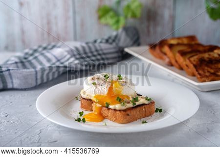Poached Egg With Mayonnaise And Micro-greens. Delicious Breakfast. Healthy Food