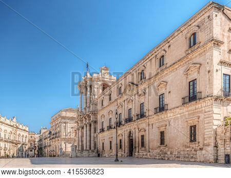 Syracuse Sicily/ Italy -april 11 2020: Cathedral Square Below In Blue Sky