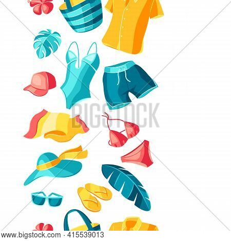 Seamless Pattern With Beachwear And Swimwear. Summer Clothes And Accessories.