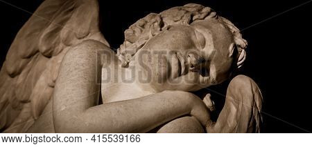 Milan, Italy - Circa August 2020: Cute Sleeping Angel. Statue Made In Marble, End Of 18th Century, U