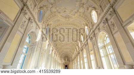 Venaria Reale, Italy - Circa September 2020: Luxury Marble For This Gallery Interior. The Great Gall