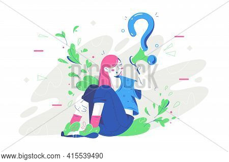 Thoughtful Young Woman Thinking About Business Near Question Bubble. Concept Smiling Female Characte