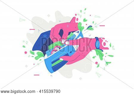Banknotes And Cash In Wallet Vector Illustration. Person Holding Purse And Counting Money Flat Style