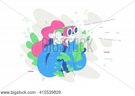 Person Looking In Binoculars Vector Illustration. Woman Searching For Someone Flat Style. Green Leav