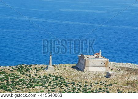 Aerial View Of The Fortress In Capo Passero Fo Portopalo, Syracuse Sicily, Italy.