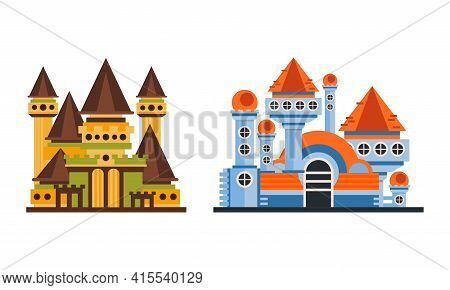Fairytale Castle Towers Set, Ancient Mansion Facades Cartoon Vector Illustration On White Background