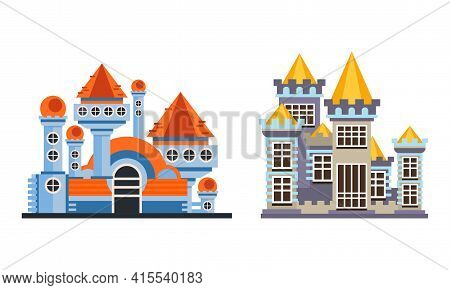 Fairytale Castle Set, Ancient Fortified Palace Facades Cartoon Vector Illustration