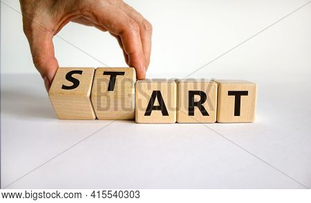 Start Art Symbol. Businessman Turns Cubes And Changes The Word 'start' To 'art'. Beautiful White Tab