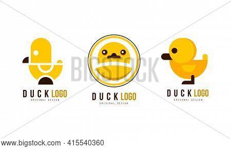 Duck Logo Original Templates Design Set, Badge, Label With Yellow Rubber Duck Vector Illustration