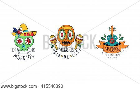 Dia De Los Muertos Logo Design Set, Mexican Day Of Dead Hand Drawn Badges, Traditional Mexican Autum