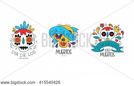 Dia De Los Muertos Logo Templates Set, Mexican Day Of Dead Traditional Mexican Festival Colorful Han