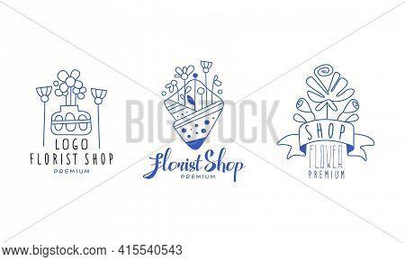 Florist Shop Premium Logo Design Set, Flower Boutique, Floral Designer Studio Blue Hand Drawn Badges