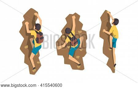 Male Mountaineer Climbing Mountain Set, Climber In Protective Helmet With Backpack Reaching Peak Vec