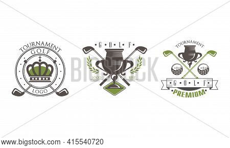Golf Tournament Premium Logo Design Set, Golf Club, Sport Championship Badges Vector Illustration