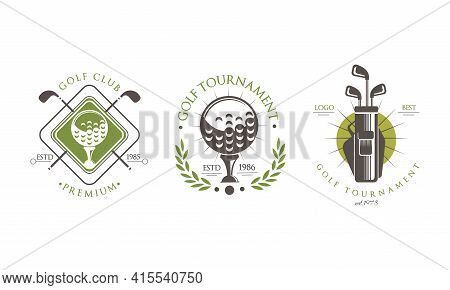 Golf Tournament Premium Logo Set, Golf Club, Sport Championship Retro Badges Vector Illustration