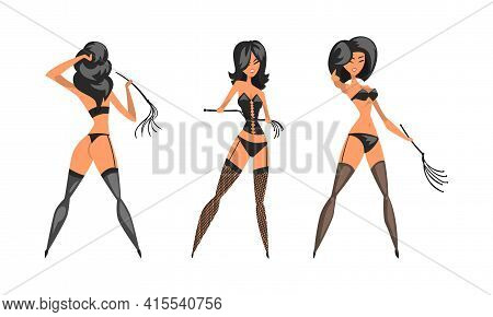 Dominatrix Woman In Black Costume With Leather Whip Set Vector Illustration
