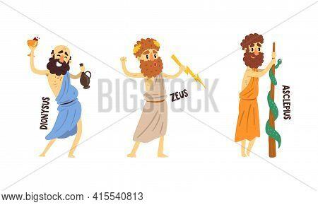 Dionysus, Zeus, Asclepius Olympian Greek Gods Set, Ancient Greece Mythology Vector Illustration