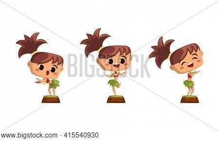 Cute Girl Hawaiian Dancers Set, Funny Child Wearing Traditional Hawaiian Costume Dancing Hula Vector