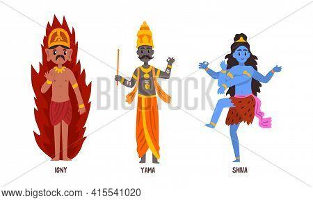 Statues Of Indian Gods Set, Igny, Yama, Shiva Hinduism Godheads Vector Illustration