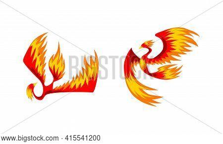 Flying Phoenix Firebirds Set, Mythical Bird, Creature Of Slavic Folklore Vector Illustration