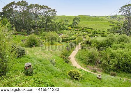 Matamata, Waikato, New Zealand - September 09. 2019: Idyllic Scenery At The Shire Represented By A R