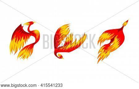 Set Of Phoenix Firebirds, Mythical Fairy Tale Flaming Flying Birds Vector Illustration