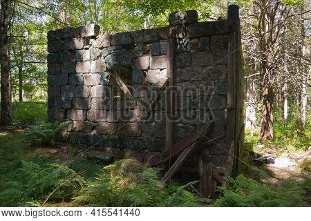 Hoegbergsaeltet, Historic Iron Mines And Ruins, In A Forest Landscape