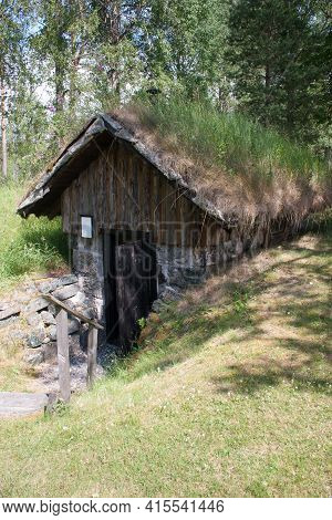 An Old Cottage In Sweden Where Once Poor People Lived. Workers And Miners Often Lived In Cottages Li