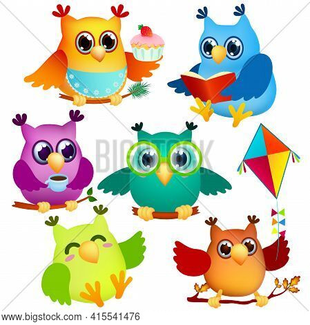 Icon Set Funny Cartoon Owls In Various Poses Sitting On Branches . Cute Colorful Birds On White Back