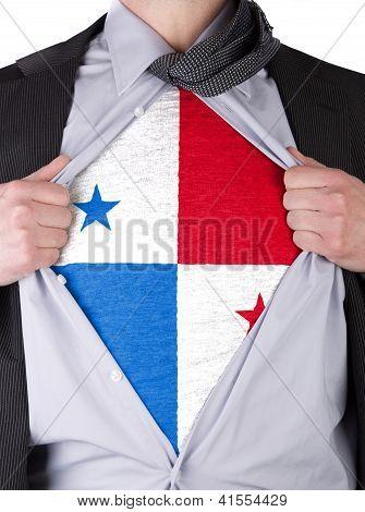 Business Man With Panamanian Flag T-shirt