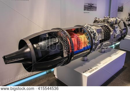 Germany, Munich - April 27, 2011: Bmw 003 Engine In The Exhibition Hall Of The Bmw Museum. The Compa