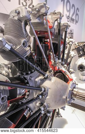 Germany, Munich - April 27, 2011: Bmw 132 Piston Star-shaped 9-cylinder Air-cooled Aircraft Engine I