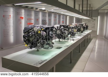 Germany, Munich - April 27, 2011: Various Bmw Engines Presented In The Exhibition Hall Of The Bmw Mu