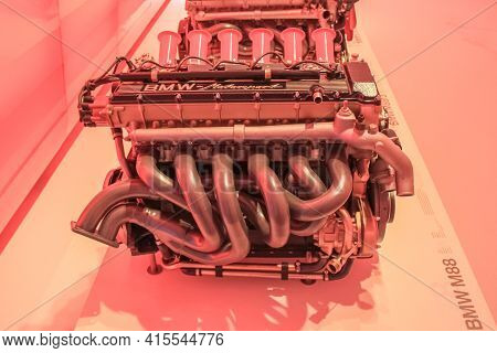 Germany, Munich - April 27, 2011: Bmw M88 Engine Side View In The Exhibition Hall Of The Bmw Museum.