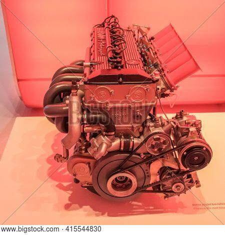 Germany, Munich - April 27, 2011: Bmw M88 Engine Speredia View In The Exhibition Hall Of The Bmw Mus