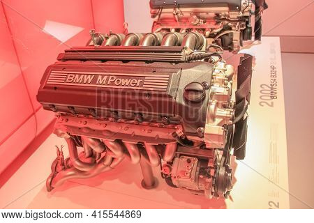 Germany, Munich - April 27, 2011: Bmw S50b30 Engine In The Exhibition Hall Of The Bmw Museum. In-lin