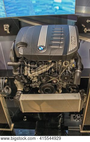 Germany, Munich - April 27, 2011: Bmw N57d30 Engine In The Exhibition Hall Of The Bmw Museum. 6-cyli