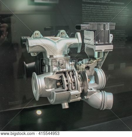 Germany, Munich - April 27, 2011: Turbine For Bmw Engines Presented In The Exhibition Hall Of The Bm